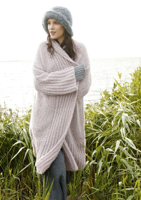 Mantel mit Schalkragen: Strickset kaufen