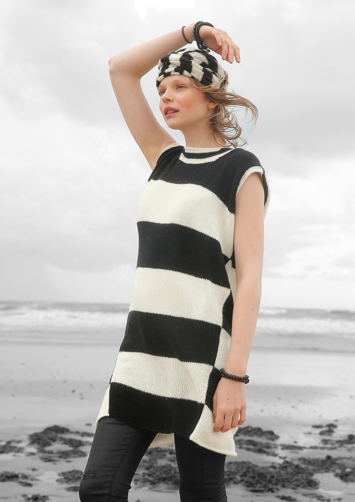 e309074ac1d0a Preview: Block stripe knit dress with hood ...
