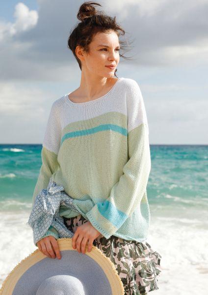 Weiter Streifen-Pullover